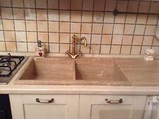 lavandino lavello lavabo cucina in pietra  travertino 2 vasche con gocciolatoio