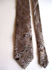 """THE TIE BAR - BROWN/GOLD/SILVER PAISLEY - SILK NECK TIE - 63""""LONG - 3 3/4""""WIDE"""