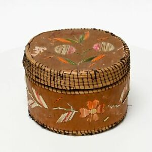 Great Lakes, Chippewa,  Birch Bark and quill basket