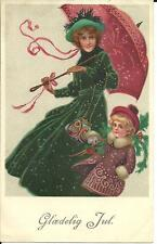 """GLAEDELIG JUL"" HAPPY CHRISTMAS (COLOUR PRINTED POSTCARD) 1924"
