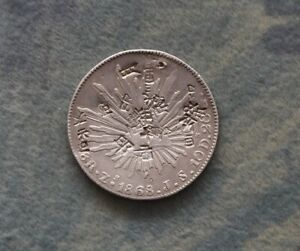 8-Reales-1868-Silber-Mexiko-Mit-chinesische-Gegenstempel