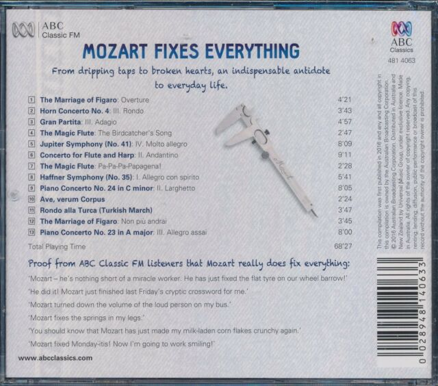 Mozart Fixes Everything CD NEW Marriage of Figaro Magic Flute