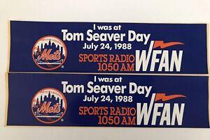 TOM SEAVER DAY SET of 2 BUMPER STICKERS- WFAN SPORTS RADIO- JULY 24, 1988 - METS