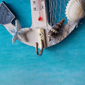 Anchor-Seashell-Net-Indoor-Thermometer-Wall-Home-Decor-Wooden-Hook-Pendant-Fine