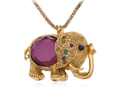 Charmant violet multicolore Cristal strass clous éléphant Collier Bijoux