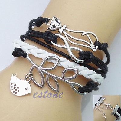 New Fashion Infinity Love Cat Tree Leather Cute Charm Bracelet