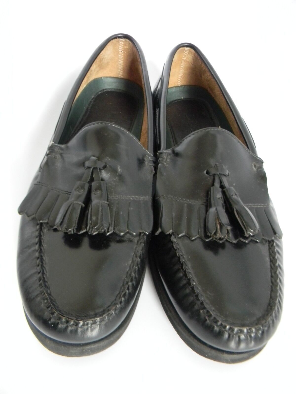 LL Bean Mens Black Tassel Loafers with Amazonas Rubber Soles Solanite Size 10.5N