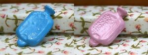 Blue or Pink Hot Water Bottle, Dolls House Miniatures, Price is for ONE Bottle