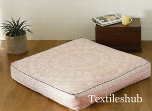 New-Indian-Large-Rose-Gold-Mandala-Cushion-Cover-Square-Decorative-Floor-Pillows