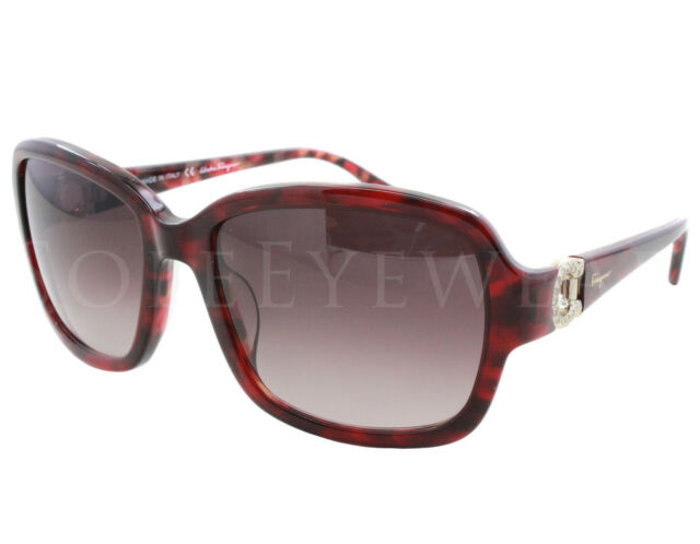 b0a6f60f082 NEW Salvatore Ferragamo SF 704SR 609 Red Tortoise   Brown Gradient  Sunglasses
