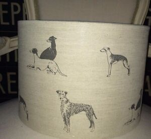 New handmade lampshade long dogs linen fabric by emily bond small image is loading new handmade lampshade long dogs linen fabric by mozeypictures Image collections