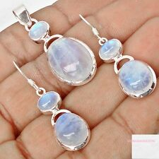 33.16cts NATURAL BLUE RAINBOW MOONSTONE 925 SILVER PENDANT EARRINGS SE