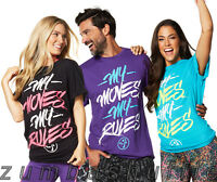 Zumba Fitness My Moves My Rules Tee Black Blue Purple T-shirt -
