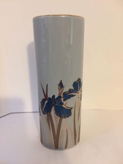Otagiri Royal Iris Bud Vase Made In Japan Porcelain Blue Trimmed In