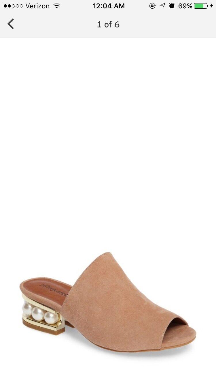 Jeffrey Campbell Arcita Pearl Heel Slide Sandals bluesh gold Suede Mule US 7.5