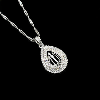 New Muslim Silver Plated Islamic Allah Clear Rhinestone Pendant Necklace Jewelry