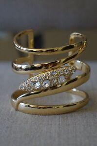 NEW-Designer-Rachel-Zoe-Gold-amp-Crystal-Pave-Pod-Swirl-Cuff-Bracelet-295