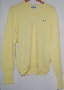 d73753a9f4 Vintage Izod Lacoste Mens Yellow Pullover V Neck Sweater M Alligator ...