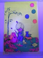 Vintage Blacklight Poster Little Birdhouse By Gary Patterson Very Cute Rare