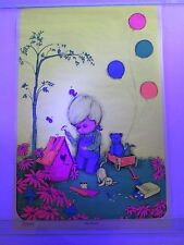 Vintage Blacklight Poster LITTLE BIRDHOUSE by Gary Patterson NOS Very Cute RARE