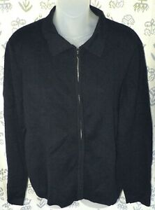 JONES STUDIO Women's Medium Black Cotton LS Full Zip Polo Shirt Sweater Top EUC