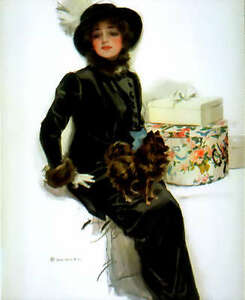 Harrison-Fisher-Fabric-Block-Girl-with-Fur-Coat-Hat-Box-Terrier