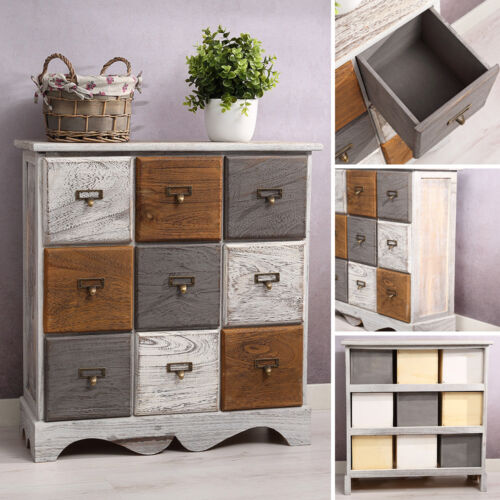 Kommode inkl. 9 Schubladen Patchwork Shabby Look braun/grau/weiß Paulowniaholz