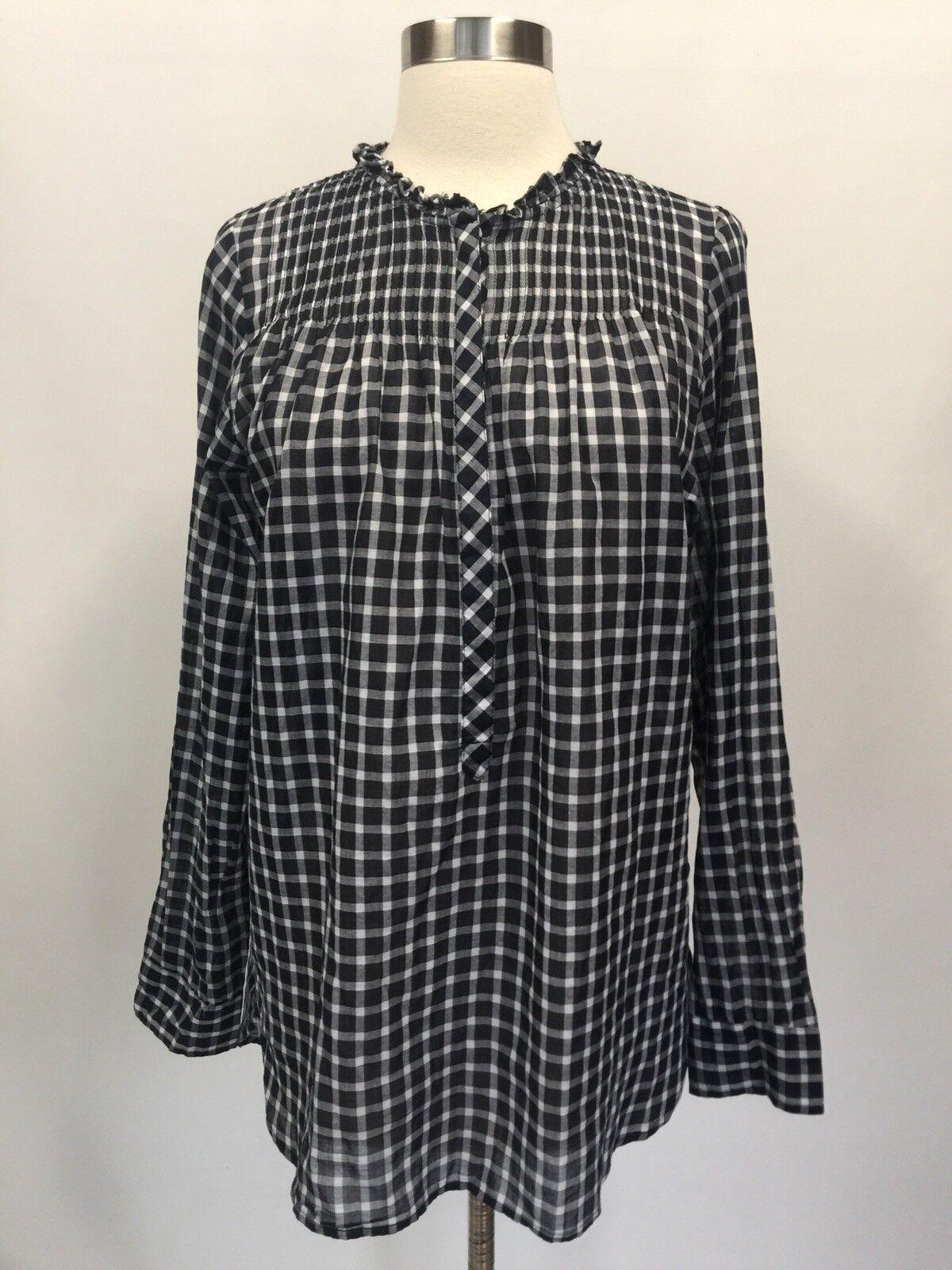 J.Crew Tall Ruffle classic popover shirt in mini windowpane Navy Größe 4T G9925