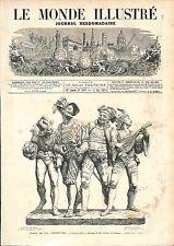 """""""Joyeux devis"""" Charles-Auguste Lebourg SCULPTURE GRAVURE ANTIQUE PRINT 1874"""