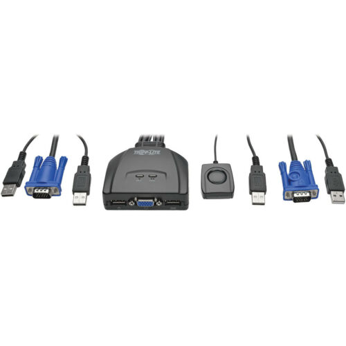 Tripp Lite 2-Port USB//VGA Cable KVM Switch with Cables and USB Peripheral Sharin