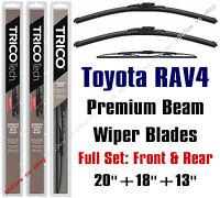 Toyota Rav4 1996-2000 Wiper Blades 3pk Premium Beam Front/rear 19200/19180/30130