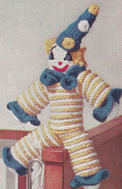 Vintage Crochet Pattern Clown Doll Toy Crocheted Rounds Ebay