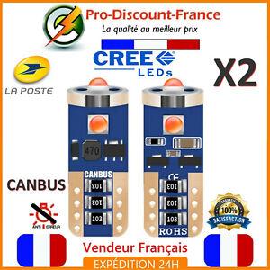 2-Ampoules-LED-T10-W5W-Orange-Canbus-Anti-Erreur-Ampoule-Clignotant
