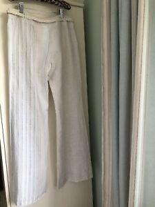 shopping save up to 80% new collection Mango Cream/ White/Striped /Wide Leg Trousers , Size 10 | eBay