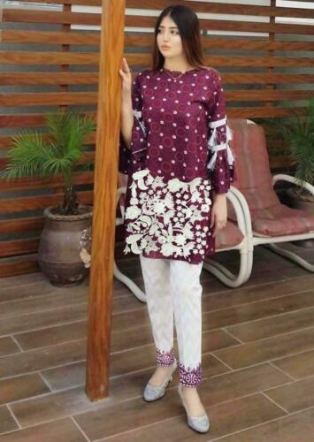 Pakistani unstitched embroidered 2pc linen shalwar kameez for women maroon