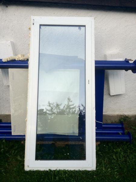 Balkontür Glas Kunststoff weiss 930mm x 2110mm DRK/links Lüftungsautomat 4x vorh