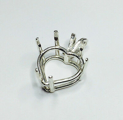 Heart Cast Wire Sterling Silver Pre-Notched Pendant Setting (4x4mm to 16x16mm)