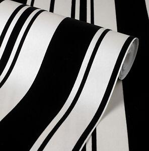 Exclusive flock velvet black cream stripe wallpaper 44007 ebay - Cream flock wallpaper ...
