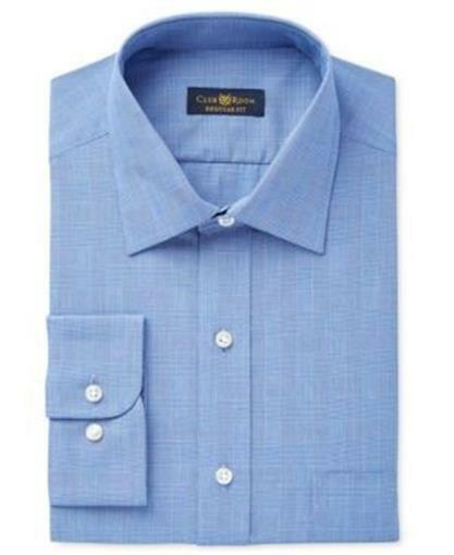 Club Room Slim Fit Blue Glen Plaid 100/% Cotton Easy Care Dress Shirt 15.5 32//33
