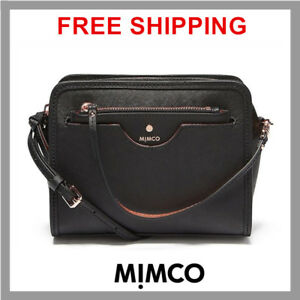 Mimco Phenomena Small Saffiano Leather Crossbody Handbag Black