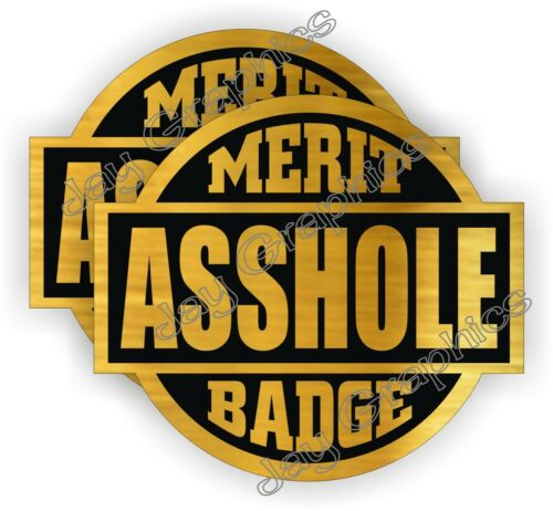 Foreman Gag Joke Decals A-HOLE Merit Badge Funny Hard Hat Helmet Stickers 2