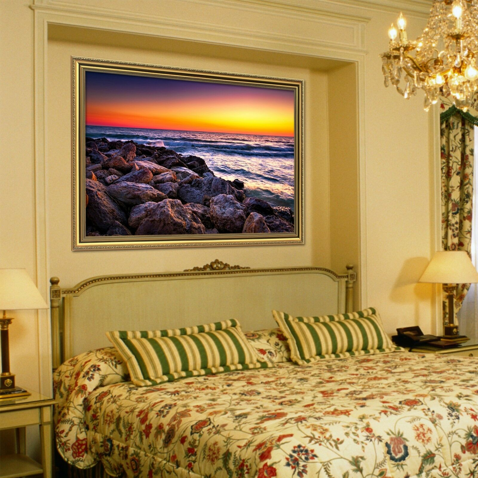 3D puesta de sol Piedra 5 Enmarcado Póster Decoración del Hogar Pintura de Impresión Arte AJ Wallpaper