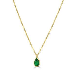 aion-Anhaenger-mit-Kette-Gold-585-14K-Tropfen-Collier-Damen-gruener-Stein-50cm