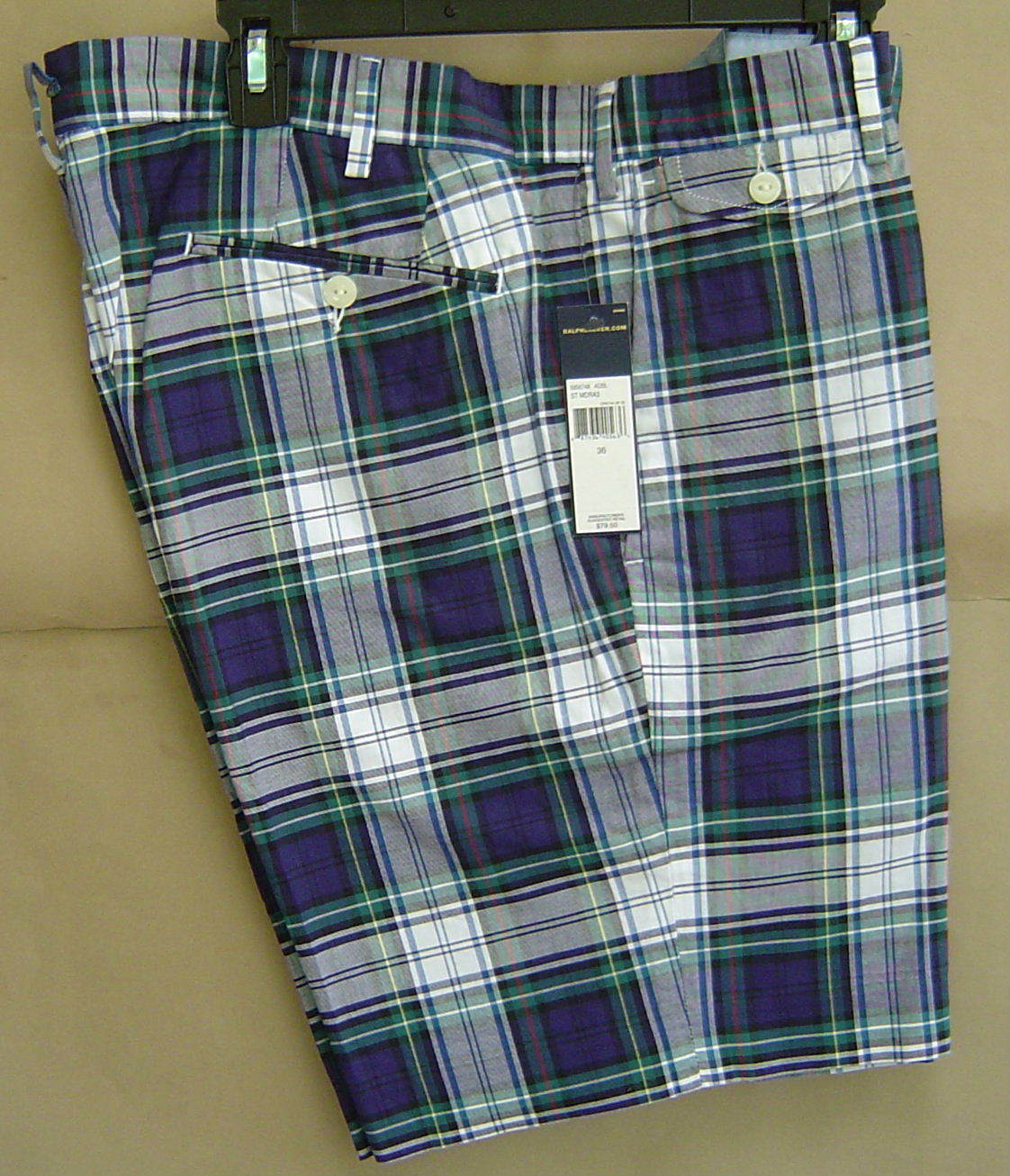 NWT  POLO RALPH LAUREN 36 Cotton MADRAS Shorts TARTAN Plaid SLIM GI 5856748