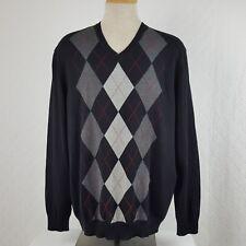 e888e66d9cd2 Club Room Mens Argyle Knit Pullover V-Neck Sweater Navy Blue Size XXL
