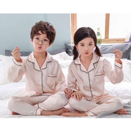Children Girls Silk Satin Pajamas Pyjamas Kids Children Sleepwear Sets Nightwear