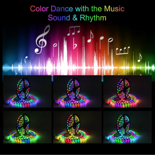 WS2811 5050 RGB LED Strip 5m 10m Magic Dream Color Addressable+Music Control Set