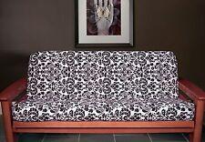 NEW - Elegant Scroll Damask Baroque Pattern FUTON COVER - Full Size BLACK WHITE