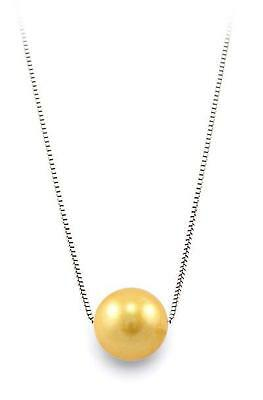 """16"""" 9-10MM AAA Golden Pearl 925 Silver Chain Necklace"""