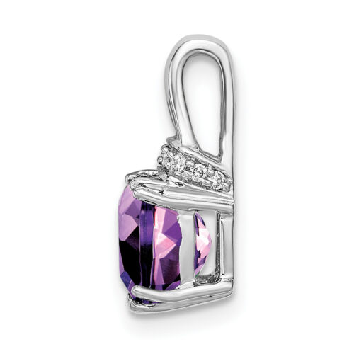 Details about  /Lex /& Lu 14k White Gold Amethyst and Diamond Pendant LAL2993